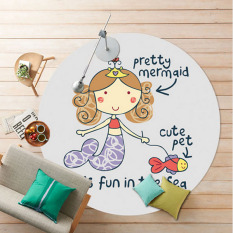 New Round Pretty Cartoon Mermaid Pattern Children Play Pad Mats Anti Slip Washable Chair Yoga Carpet Soft Floor Bedroom Carpets 160 X160 Cm