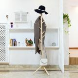Low Cost Round Wooden Coat Stand Natural Wood Camel