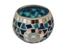 ruixiang Mosaic Glass Votive Candle Holder Table Decoration Centerpiece (Blue)