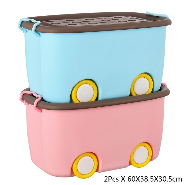 RuYiYu - 2 Pack,Ultra Latch Box in Fun Colors, Kids Toy Organizer and Storage Bins with Lids,Durable Construction, 60 X 38.5 X 30.5CM