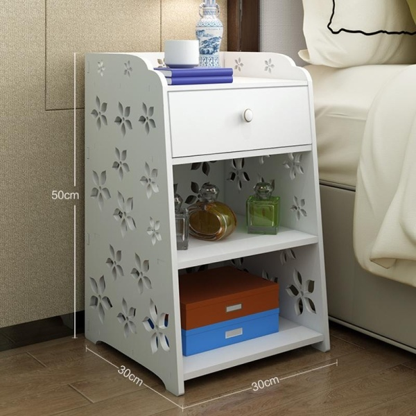 RuYiYu - 30 X 30 X 50 cm, Small Plastic-Wood White Bed End Table Nightstand Bathroom Cabinet Kids Furniture Bookcase Table, Creative Water-proof Living Room Multifunctional Cabinet