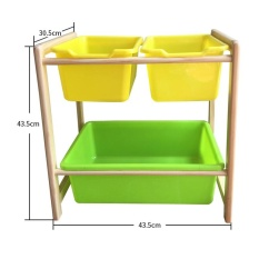 43.5 X 43.5 X 30cm, Kids Toy Organizer and Storage Bins,3-Bins in Fun Colors, Toy Storage Rack, Natural/Primary