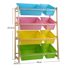 64 X 81.5 X 29cm, Kids Toy Organizer and Storage Bins, 8-Bins in Fun Colors, Toy Storage Rack, Natural/Primary