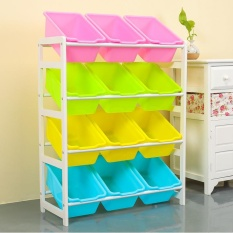 64X 28 X 80cm, Kids Toy Organizer and Storage Bins, 12-Bins in Fun Colors, Toy Storage Rack, Natural/Primary