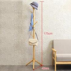 RuYiYu - 68.9 inch/175cm, Wood Floor Standing Coat/Hat Rack, Solid Wood in Pine Finish, 8-Hook Coat Rack