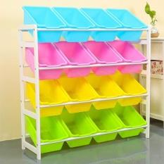 84X 28 X 80cm, Kids Toy Organizer and Storage Bins, 16-Bins in Fun Colors, Toy Storage Rack, Natural/Primary