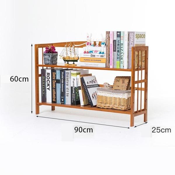 RuYiYu - 90 X 25 X 60cm, Bamboo Bookshelf 2-tier Book Rack Storage Rack, Multifunctional Bathroom Kitchen Living Room Holder 2-Tier Utility Storage Rack Shelf