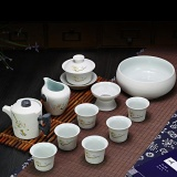 Ruyiyu China Ceramic Chinese Porcelain Kung Fu Tea Set Snow Glaze Ceramic Tea Pot 12 Pack Steadily Rising Online