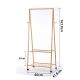 Discount Ruyiyu Multifuctional Bamboo Garment Laundry Rack With 4 Coat Hooks 2 Tier Shoe Clothes Storage Shelves Heavy Duty Drying Rack Clothes Rack For Laundry Ruyiyu China