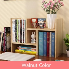RuYiYu - Wood Adjustable Desktop Bookcase Office Organizer Shelf Rack, Supply Storage Rack, 30 W X 35 H X 17 D; Extended - 58 W X 35 H X 17 D.
