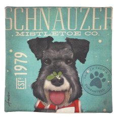 S and F Schnauzer puppy pillow against pillowcase(Export)