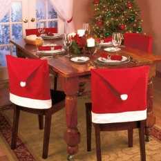 Santa Claus Red Hat Chair Back Cover for Christmas Dinner Decor 6pcs Xmas Cap set - intl