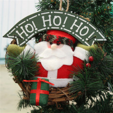 Santa Claus Snowman Rattan Hoop Christmas Tree Decor Wreath Garland Door Hanger CX10086-2 - intl