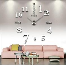 Schuan 3D Mirror Surface DIY Big Digital Modern Creative Home Decor Round Wall Clock,Silver - intl