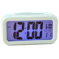 Schuan Blue Night Light Silent Digital Alarm Clock Date Display Repeating Snooze (White)