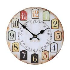 Schuan Wood Vintage Wall Clocks for Decorative Living Room, Colorful Pattern 12 Inch
