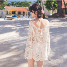 Seaside Korean Style Bohemian Long Sleeve Crochet Leisure Bikini Outer Blouse Bathing Suit Beach Outdoor 4216