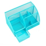 See Through Stationery Organizer 6 Compartments Blue On Line