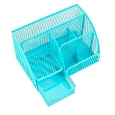 Sale See Through Stationery Organizer 6 Compartments Blue Oem Branded