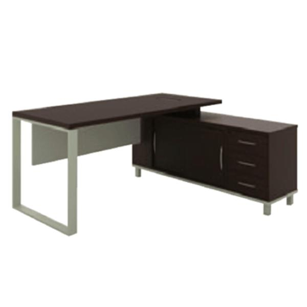 Director Table Set (38mm Thickness)  BAYCUS  Office Table with Attached Side Cabinet  Dark Brown Director Table  L-Shaped Office Table