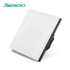 Buy Sesoo Touch Screen Light Switch 2 Gang 1 Way Crystal Glass Panel With Remote Control White Intl Online