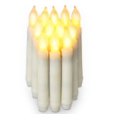 Set Of 12 Flameless Ivory Mini Wax Dipped Flickering Amber Led Taper Candles Big Size Intl Coupon