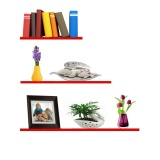 Who Sells The Cheapest Set Of 3 Sky Floating Wall Shelves Red Online