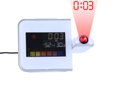 shangqing Multi-function Projection Digital Weather LCD Snooze Alarm Clock Color Display W/ LED Backligh, White - intl
