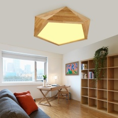 Cheaper Shifan Ceiling Light 42Cm 24W Warm Light Wooden Led Lamps Gy7101 Simple Creative Fixture Geometry Living Room Bedroom Lighting