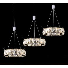 Shifan Pendant Light 20CM 9W Single Head(Warm Light) Stainless Steel Creative Crystal Hanging Lighting Ceiling Fixtures WM5338