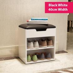 Buy Shoe Rack With Sofa Seat Storage Bench Black White 40Cm Width On Singapore