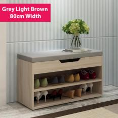 Buy Shoe Rack With Sofa Seat Storage Bench Grey Light Brown 80Cm Width Rack Online