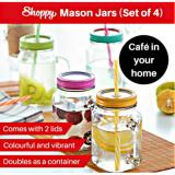 Price Comparisons Shoppy Parisian Mason Jar With Blue Lids Set Of 4 Bottles
