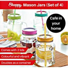 Sale Shoppy Parisian Mason Jar With Blue Lids Set Of 4 Bottles On Singapore