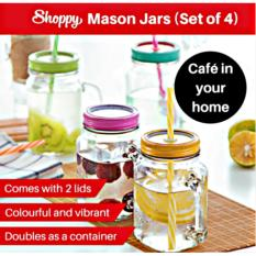Great Deal Shoppy Parisian Mason Jars With Green Lids Set Of 4 Bottles