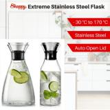 Shoppy Stainless Steel Lid Hot Cold Boro Glass Jug Pitcher Flask 1 5L Slim Reviews