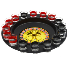 Compare Price Shot Glass Roulette Table Drinking Game With 2 Balls And 16 Glasses Black On China