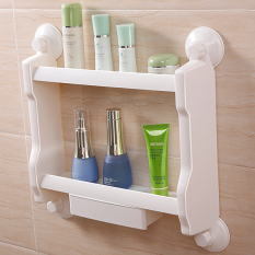 Shuangqing Bathroom Double Layer Suction Wall Storage Rack Shelf Best Buy