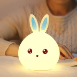 Top 10 Silicone Led Night Light Cute Bunny Rabbit Baby Nursery Lamp Tap Control 7 Color Breathing Light For Children Usb Rechargeable Color Blue Power Zero Point Four Intl