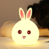 New Silicone Led Night Light Cute Bunny Rabbit Baby Nursery Lamp Tap Control 7 Color Breathing Light For Children Usb Rechargeable Color Pink Power Zero Point Four Intl