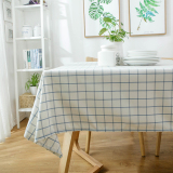 Lowest Price Blue Grid Simple And White Plaid Long Tablecloth Waterproof Table Cloth