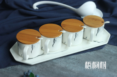 European Style Marbling Simple Ceramic Seasoning Pot Seasoning Box Monosodium Glutamate Salt Shaker Creative Kitchen Supplies Set