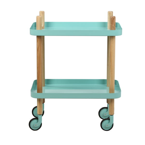 Denmark Storage Trolley Northern Europe Nuoman Metal Solid Wood Bedside Table Pulley Tea Side Table Girls Heart Storage Shelf