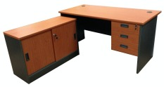Discounted Simply Writing Desk Set 1 5M L Shape Cabinet Set Cherry