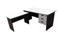 Simply Writing Desk Set - 1.5m L-Shape with Fixed Pedestal (Light Grey)