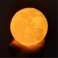 Simulation 3D Moon Night Light, 3 LEDs USB Rechargeable Moonlight Desk Lamp with Wood Base Specification:8cm - intl