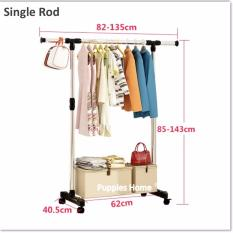 Compare Single Rod Stainless Steel Clothes Drying Rack Movable Wheels Pine Wood Laundry Wardrobe Floor Standing Clothing Stand Hat Coat Jacket Hanger Prices