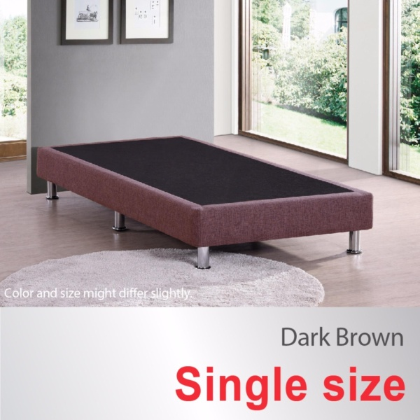 Single Size * Divan Bed Base * Fabric Upholstery * Dark Brown * Metal Legs * Fast Delivery