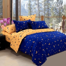 Compare Price Single Double King Size Star Moon Pattern Duvet Cover Sweet Style Skin Friendly And Comfortable Navy Blue Yellow Star Moon Story Intl Oem On Singapore