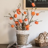 Compare Prices For Skim Han Simulation Persimmon Fruit Tree Branch Wishful Simulation Flower Home Soft Decoration Ornaments Floral Desktop Floor Intl